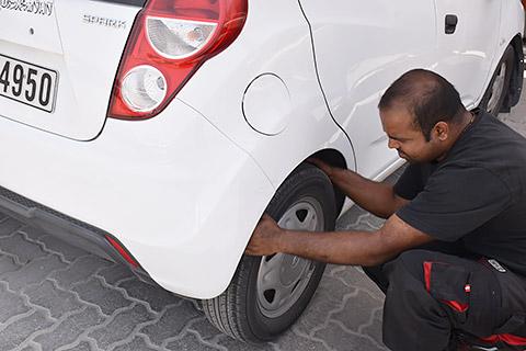 Arbeit am Reifen