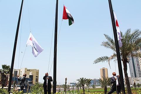 Hissen der Flaggen