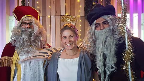Nikolaus und Krampus mit Engel