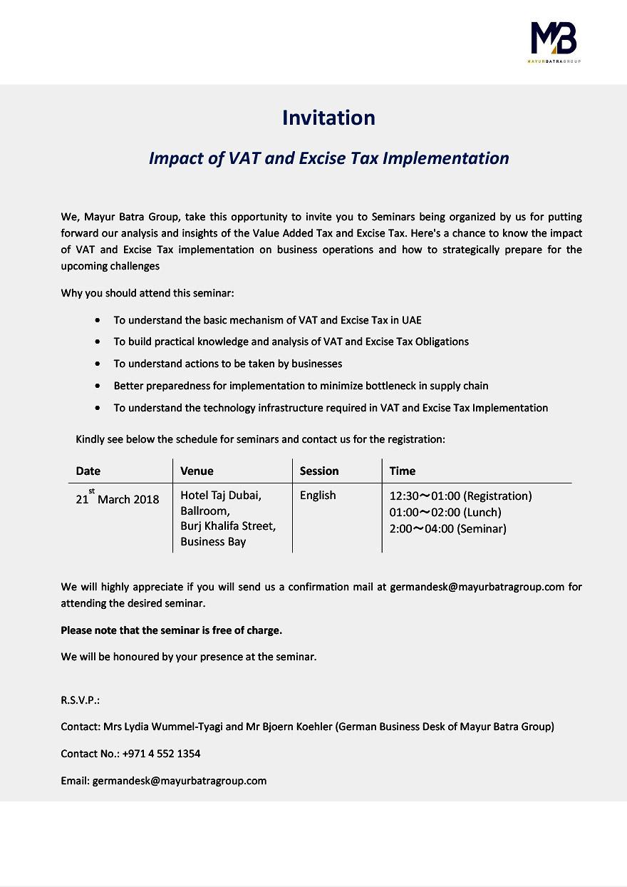 VAT und Excise Tax Seminar