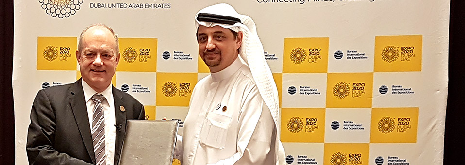 Vertragsunterzeichnung zur Teilnahme an der Expo 2020