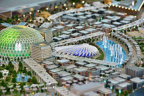Detail des Modells vom Expo-Gelände